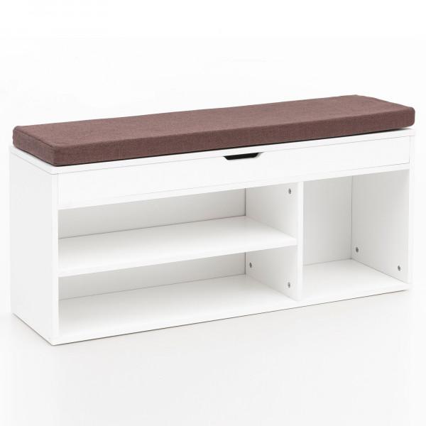 WOHNLING Schuhbank BABSI mit Sitzfläche Garderoben-Bank Holz 104x51x32 cm Weiß