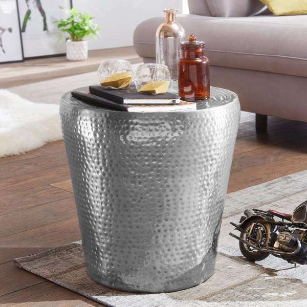 WOHNLING Beistelltisch VIKRAM Aluminium Silber Dekotisch orientalisch rund