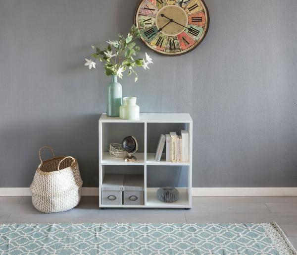 WOHNLING Design Bücherregal ZARA mit 4 Fächern Weiß