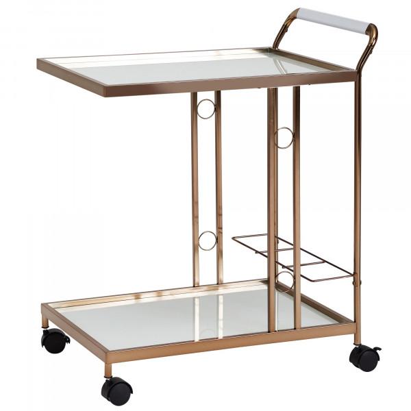 WOHNLING Design Servierwagen Gold 67x80x45 cm | Mobiler Beistelltisch | Speisewagen mit Glasplatte