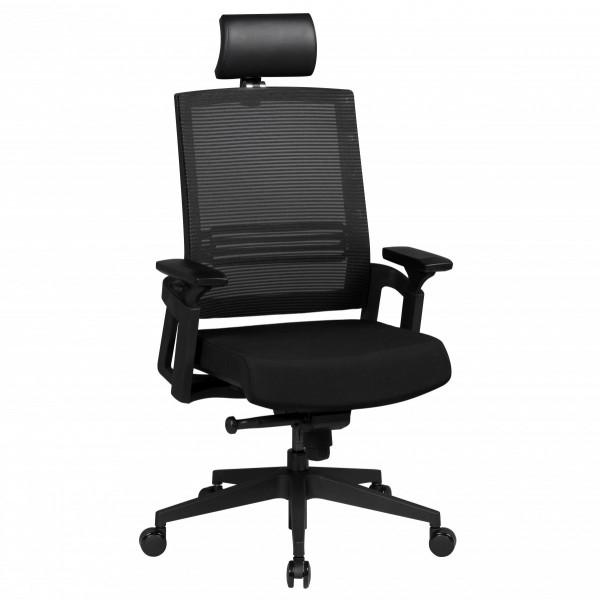 AMSTYLE Bürostuhl APOLLO A1 Stoffbezug Schreibtischstuhl Armlehne schwarz Chefsessel 120 kg
