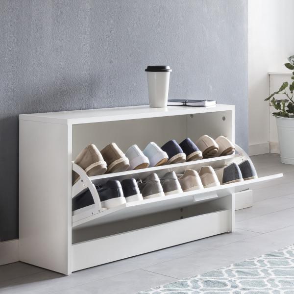 WOHNLING Schuhbank ZOEY mit Sitzfläche Weiß Schuhkipper
