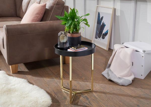 WOHNLING Design Beistelltisch EVA 40x51x40cm Couchtisch Rund Schwarz / Gold