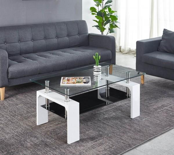 MÖBILIA Couchtisch 100x80 cm mit Ablageboden weiß mit schwarz hochglanz Glastisch Wohnzimmer