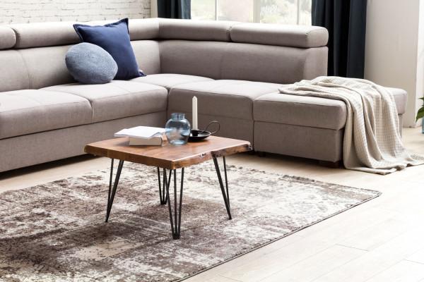 WOHNLING Design Couchtisch MAHILO Massivholz Tisch Baumkante