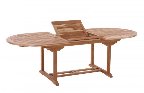 MÖBILIA Gartentisch, 180x100 cm oval, ausziehbar, Teak-Holz mit Schmetterlingsauszug, auf 240 cm aus