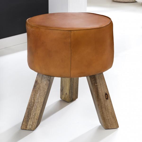 WOHNLING Design Sitzhocker Modern Fußhocker Rund braun