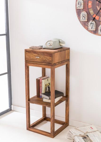 WOHNLING Beistelltisch MUMBAI Massivholz Sheesham Anstelltisch Telefontisch mit Schublade