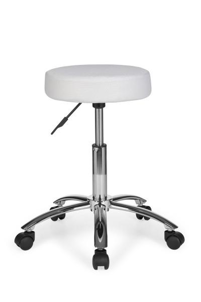 AMSTYLE Hocker LEON Design Arbeitshocker Stoffbezug Weiß Sitzhocker mit Rollen Rollhocker gepolstert