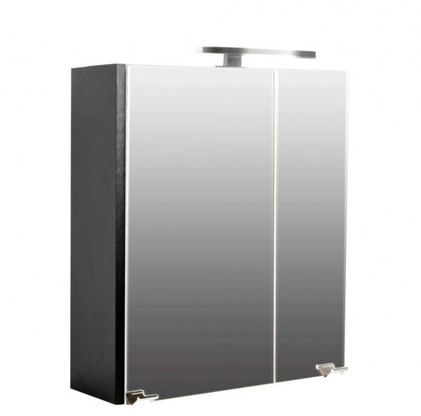 Posseik Spiegelschrank Homeline 60 cm mit LED Lampe - anthrazit seidenglanz