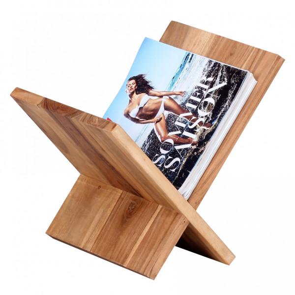 WOHNLING Zeitungsständer MUMBAI Massivholz Akazie X-Form 31 cm Zeitschriften-Ständer