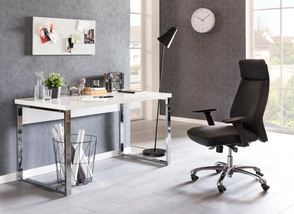 WOHNLING Design Schreibtisch CARLIE 140x70x76 cm Groß Weiß Hochglanz Computertisch | Bürotisch