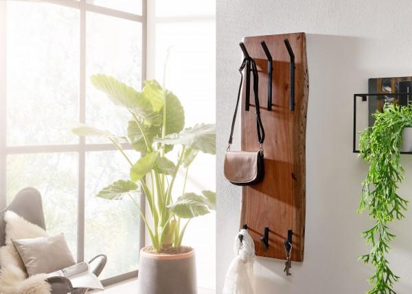 Wohnling Design Wandgarderobe Akazie Massivholz / Metall 35,5 x 100 x 11 cm