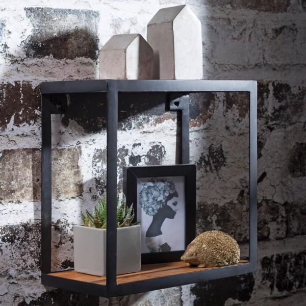 WOHNLING Wandregal PIRU 35x18x35 cm Sheesham Massivholz | Bücherregal Hängend | Metallregal