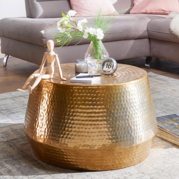 WOHNLING Couchtisch MAHESH 60x36x60 cm Aluminium Beistelltisch Gold Orientalisch Rund