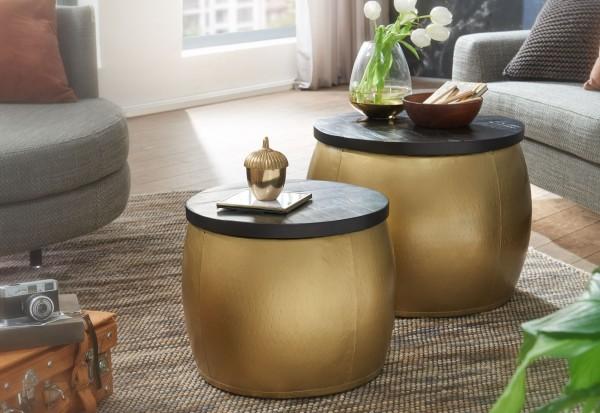 WOHNLING Design Couchtisch 2er Set Mango Massivholz Satztisch Rund Gold Kaffeetisch