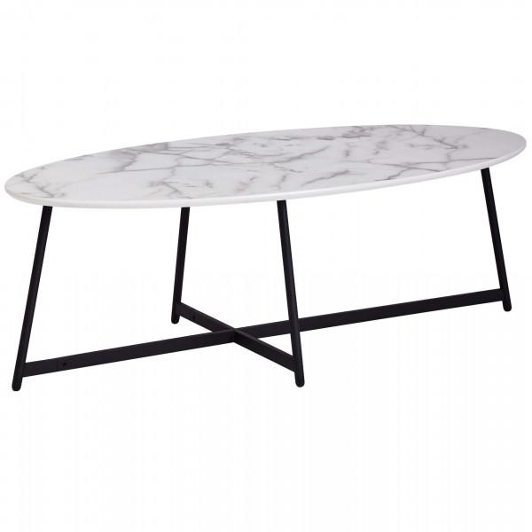 WOHNLING Design Couchtisch Oval 120x60 cm mit Marmor Optik Weiß | Wohnzimmertisch mit Metall-Beine