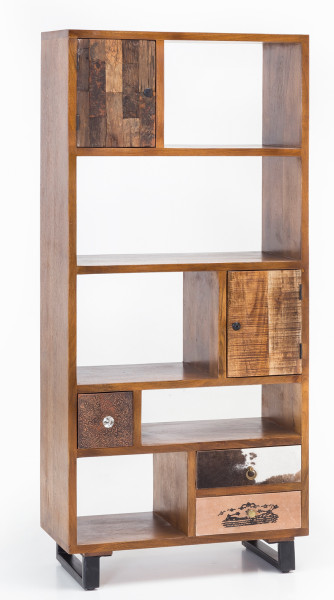WOHNLING Bücherregal PATNA Massiv Holz Mango Natur mit Schubladen