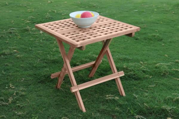 MÖBILIA Gartentisch, 50x50 cm, Teak-Holz quadratisch, klappbar natur unbehandelt