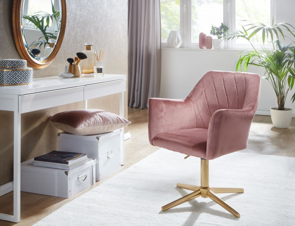 WOHNLING Design Drehstuhl Rosa Samt Drehbar ohne Rollen