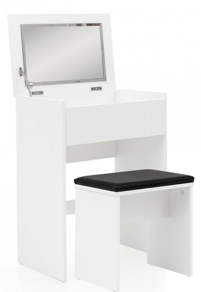 WOHNLING Schminktisch Burga 60x81x40 cm Weiß Konsolentisch Modern | Kosmetiktisch mit Hocker