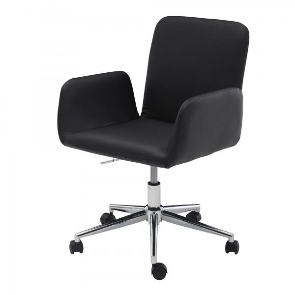 AMSTYLE Drehstuhl schwarz Kunstleder Drehbar mit Rollen   Design Schreibtischstuhl höhenverstellbar