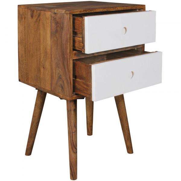WOHNLING Retro Nachtkonsole REPA / Sheesham-Holz Nachttisch mit 2 Schubladen dunkelbraun / weiß
