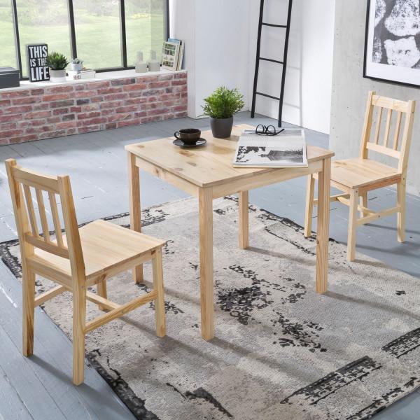 WOHNLING Esszimmer-Set EMIL 3 teilig Kiefer-Holz Landhaus-Stil