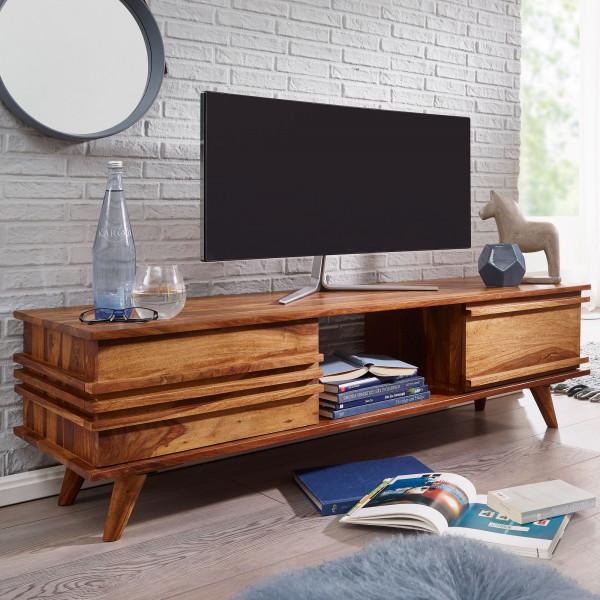 WOHNLING Lowboard KADA Massivholz Sheesham Kommode 145 cm TV-Board