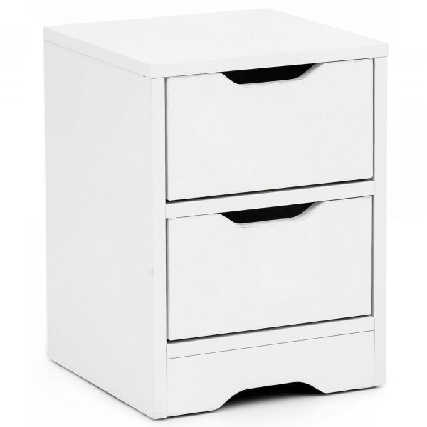 WOHNLING Nachtkonsole Pagus 31x42x31cm Weiß Matt mit 2 Schubladen | Weiße Nachtkommode