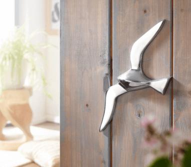 WOHNLING Wanddekoration Möwe S Aluminium poliert Dekofigur 30 cm