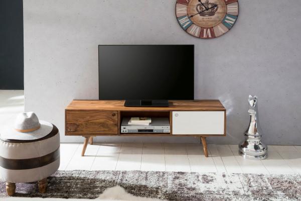 WOHNLING TV Lowboard REPA 140 cm Massiv-Holz Sheesham