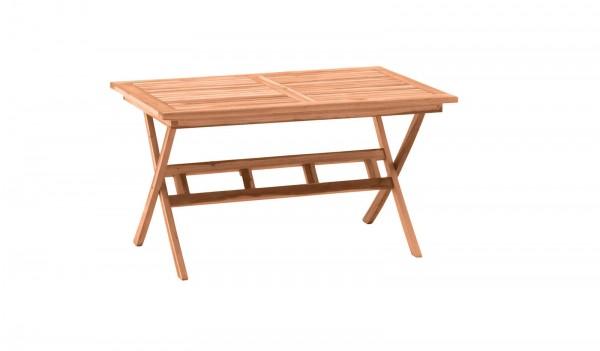 MÖBILIA Gartentisch 135x85 cm, Teak-Holz mit Schirmhalter, klappbar natur unbehandelt