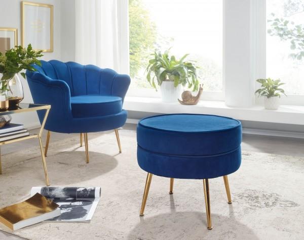 WOHNLING Sitzhocker Samt blau 51x46x51 cm Fußhocker Rund Gepolstert Sitzgelegenheit