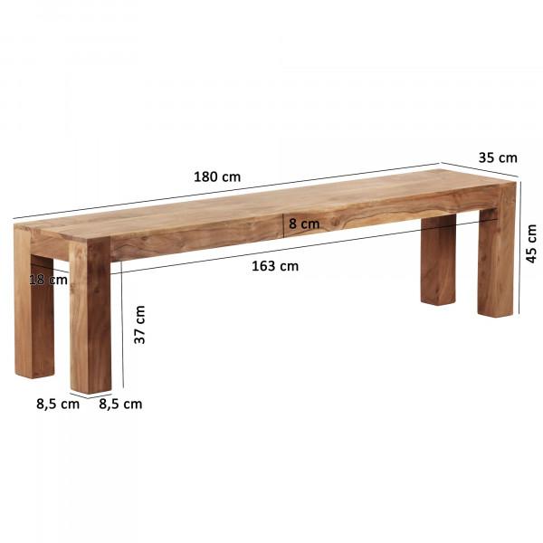 WOHNLING Esszimmer Sitzbank MUMBAI Massiv-Holz Akazie 180 x 45 x 35 cm