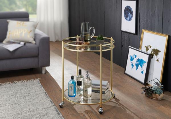WOHNLING Design Servierwagen JAMES Gold Ø 57 cm Beistelltisch | Teewagen Metall mit Rollen