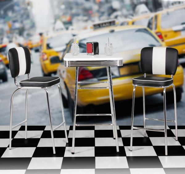WOHNLING Bartisch eckig ELVIS 60 x 60 cm American Diner MDF Holz & Alu Stehtisch Design Partytisch