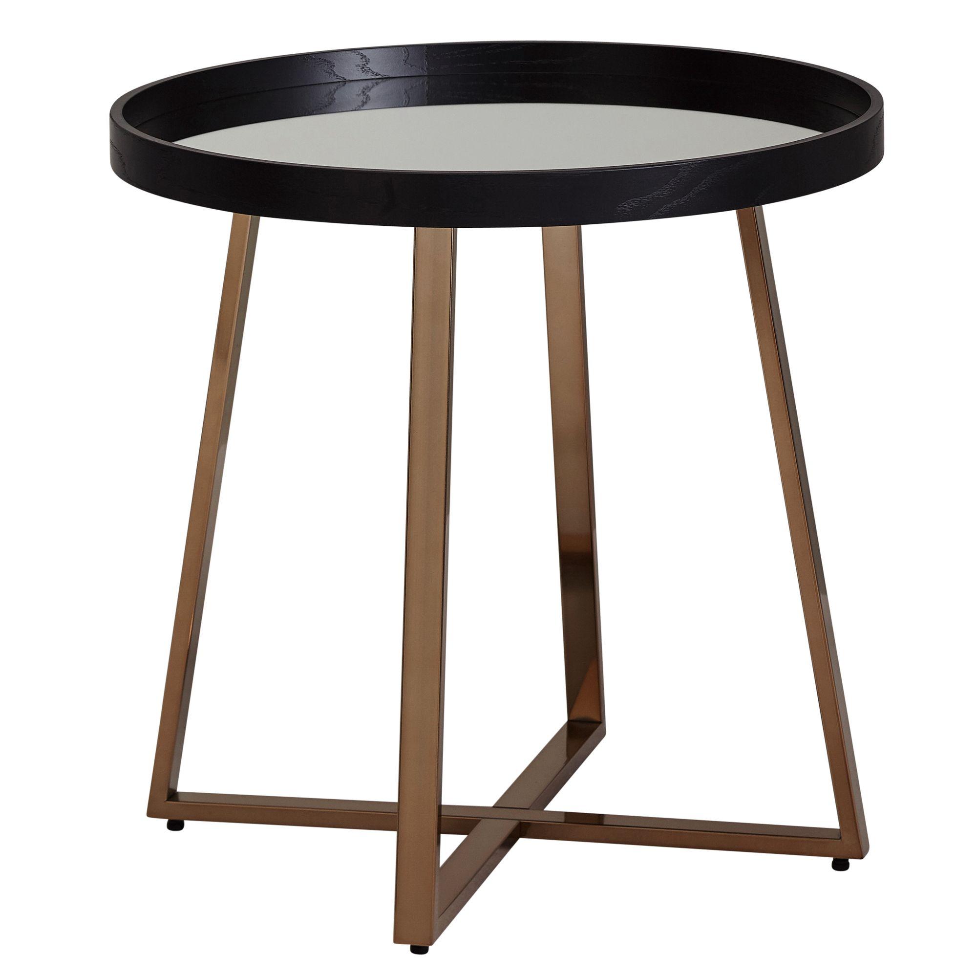 Wohnling Design Beistelltisch Rund O58 5 Cm Gold Mit Glas Spiegel Wohnzimmertisch Schwarz