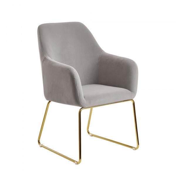 WOHNLING Esszimmerstuhl Samt Hellgrau Küchenstuhl mit goldenen Beinen