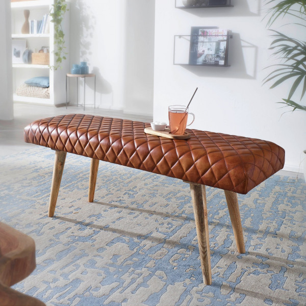 WOHNLING Sitzbank Echtleder / Massivholz Bank 115x53x38 cm
