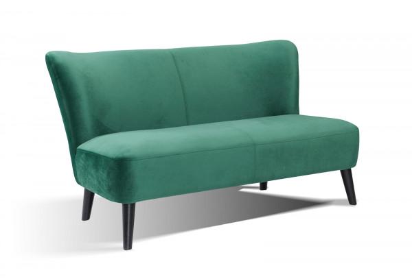 Sofa Retro Samt 2-Sitzer seegrün Hevea Holz