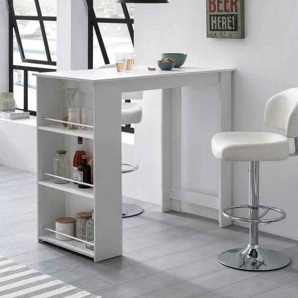 WOHNLING Bartisch Tabby Weiß 120 x 107,5 x 60 cm Stehtisch Küchenbartisch   Bartresen
