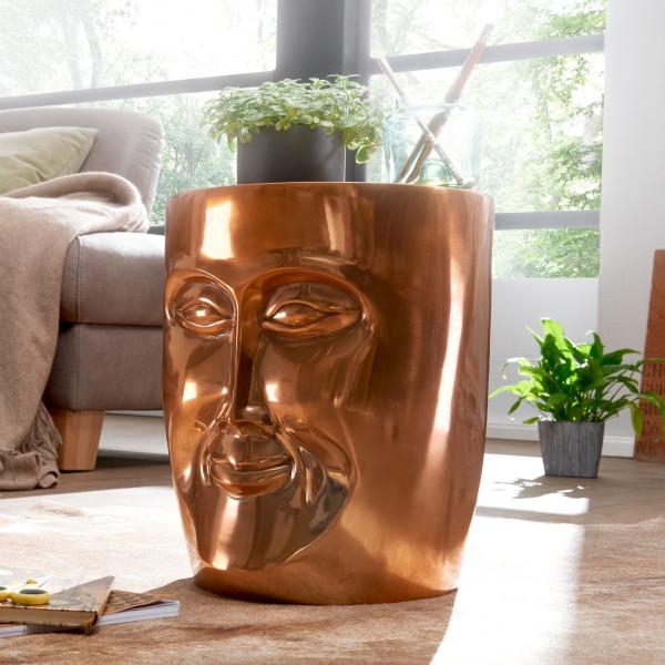WOHNLING Beistelltisch FACE 35x35x39 cm Aluminium Couchtisch Kupfer orientalisch | Sofatisch