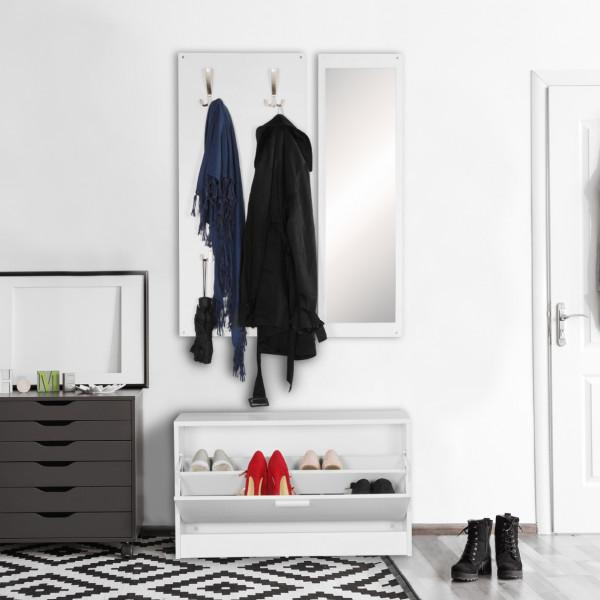 WOHNLING Wand-Garderobe JANA mit Spiegel & Schuhschrank Spanplatte weiß