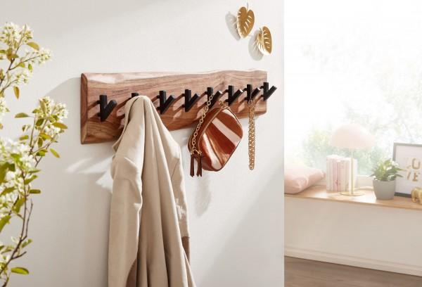 Wohnling Design Wandgarderobe Akazie Massivholz / Metall 90 x 19 x 9 cm