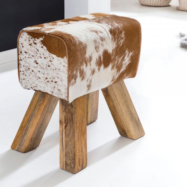 WOHNLING Design Turnbock Sitzhocker Ziegenfell Braun / Weiß