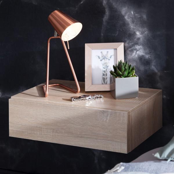 WOHNLING Nachtkonsole DREAM für Wandmontage Sonoma Nachttisch Holz