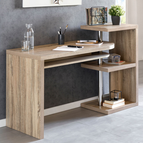 WOHNLING Schreibtisch LARRY 145x50x94 cm Bürotisch mit Regal Sonoma   Winkelschreibtisch
