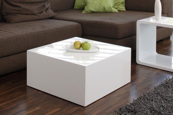 Couchtisch Qube 60x60x30cm Weiß Hochglanz Lack