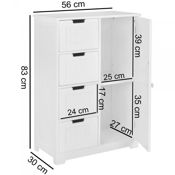 WOHNLING Design Badschrank LUIS Landhaus-Stil MDF-Holz weiß